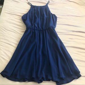 A-line blue chiffon dress